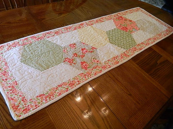 Hexagon Quilted Table Runner By Craftsandquiltstudio On Etsy