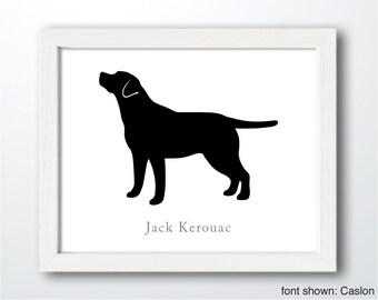 Personalized Hand-Cut Labrador Retriever Silhouette with Custom Name (version 3) - Labrador art, dog portrait, modern dog home decor
