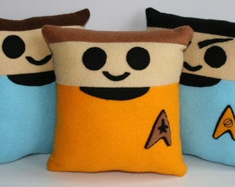 Star Trek, Kirk, Spock and Dr McCoy Mini Felt Cushions