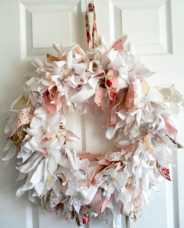 Large Fabric Wreath Rag Wreath Shabby Chic Wreath Wedding