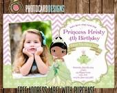 Princess and Frog Birthday Photo Invitation Card | Tiana | Chevron | Disney | Printable | Digital | Print file | invite | Princess Birthday