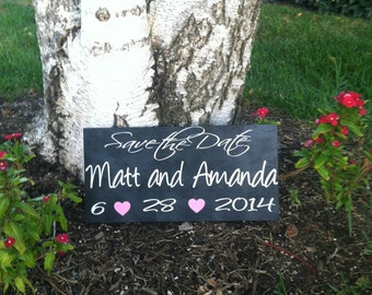 Save the Date Sign --  Engagement Sign - Wedding Signs - Save the Date Photo Prop - Custom Wood Signs -- Photo Prop Personalized Sign