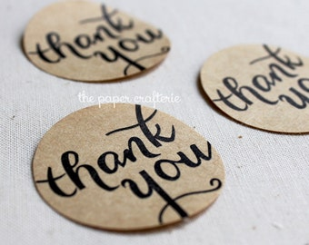 Thank You Kraft Brown Stickers Label Seal Tag - Pack of 60