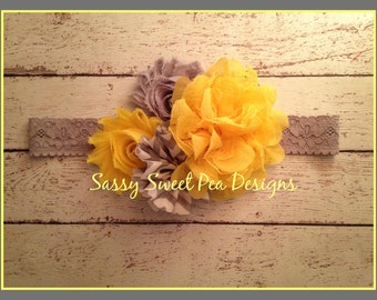 Yellow Lace Flower with Gray Shabby and Chevron Flowers attached to Gray Lace Headband..Baby Hair Bow,...Photo Prop Bow, Baby Shower