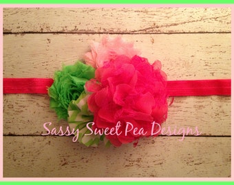 Hot Pink  Lace Flower with Shabby and Chevron Flowers Headband..Watermelon inspired Headband..Baby Hair Bow,...Photo Prop Bow, Baby Shower