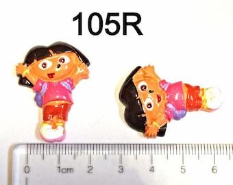 2 Dora Full Body  #105R  Resin Flat back Cabochon Hair Bow Center