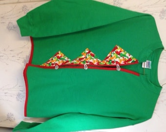 Ladies Sweatshirt Cardigan Green & Red with Chili Peppers Size Medium