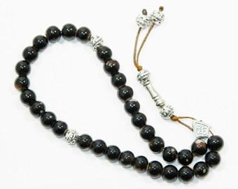 C-0271 - Prayer Beads Worry Beads Tasbeeh Tasbih 8mm Brown Glass Handmade