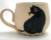 Black Fat Cat Cup. Ceramic Handmade Cup with Beautiful Fat Cat. Cat Teacup. Coffee Mug with Painted Cat.