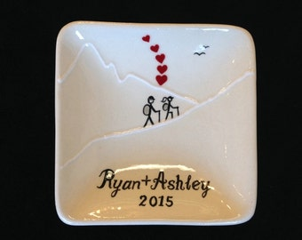 Engagement gift, Wedding gift, hiking ring dish- Personalized Ceramic Ring Dish, ring holder- Anniversary, Valentine's Day