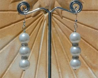 White pearl silver earrings. Silver pearl earrings, white pearl earrings 14037