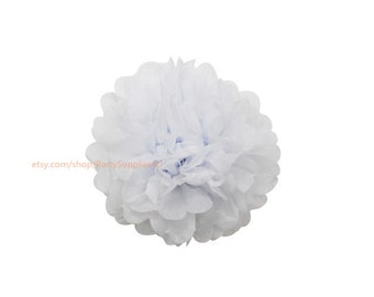 White Tissue Paper Pom Poms * 1 Medium 10 inch Tissue Paper Flowers For Wedding Nursery Shower Party Decoration