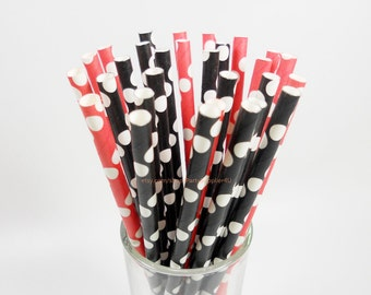 Paper Straws * 50 Mickey Mouse & Minnie Mouse Birthday Paper Drinking Straws * Red and Black Polka Dots Paper Straws