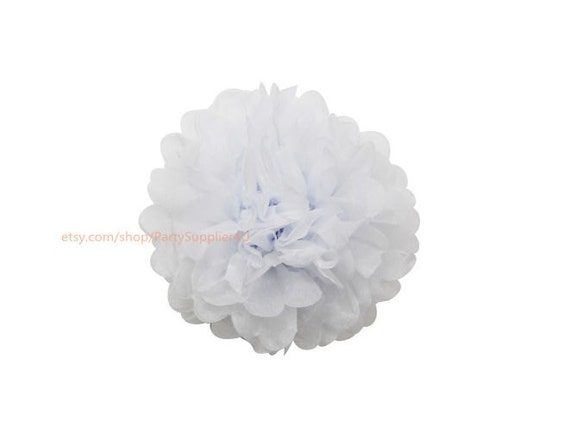 White tissue paper pom poms 1 small 6 inch tissue paper flowers il570xn mightylinksfo