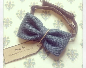 mens bow tie blue wool - wool bow tie - knitted bow tie - blue bow tie