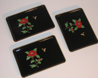 Vintage Black Lacquer Otagiri Snack, Sushi, Canape, Serving Trays, Set of 3 Black Lacquer with Inlaid Red Flower and Butterfly