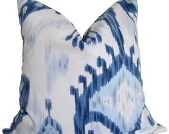Robert Allen Blue and White Ikat Decorative Pillow Cover - Accent Pillow - Pillow Cover - Throw Pillow - Toss Pillow - Sofa Pillow