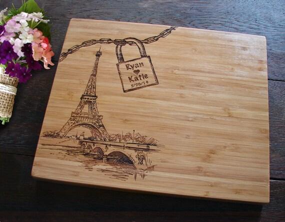 Love Lock Bridge Paris Cutting Board For Birthday Or