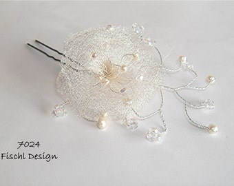 Wedding hairpin bridal hair accessories blossom filigree wire pearls ivory white 7024