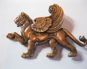 Signed Winged Lion Statement Brooch