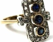 Victorian Inspired 1.10ct Diamond & Sapphire Ring, Free Shipping worldwide