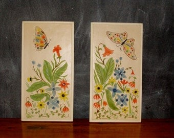 vintage wall hanging, chalkware flowers and butterflies plaque