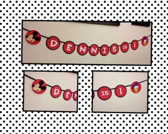 Mickey Mouse and Donald Duck Birthday Decoration Banner - Personalized