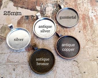 25 pcs, Glass Tile Pendant Blanks, 25mm Tray, You Choose Color, Silver, Antique Silver, Gunmetal, Antique Bronze, Antique Copper