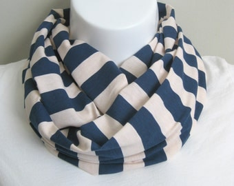 Navy and Silver Peony Striped Jersey Knit Infinity Scarf