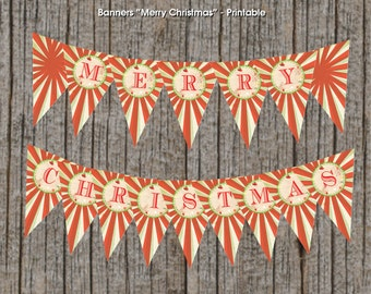 "Printable Christmas Banner 4""x6"", Instant Download, DIY"