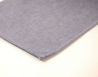 Men's Pocket Square - Blue or Grey  Cotton Chambray