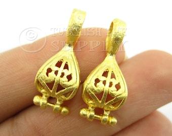 2 pc Earring Companent Pendants, Gold Earring Findings, Earring Connectors, 22K Gold Plated Brass Earrings, Turkish Jewelry