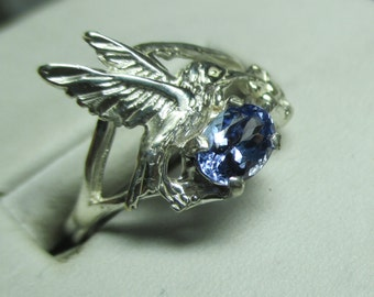 Ladies sterling silver hummingbird floral tanzanite 1.0ct neat ring