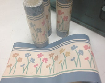 Vintage 1980's Contemporary Style Floral Stems Wall Paper Border