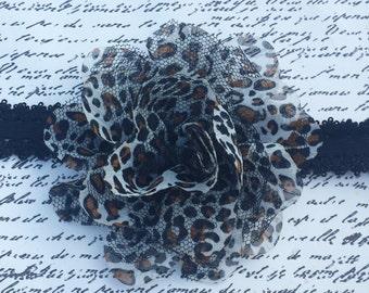 Animal Print Headband. Leopard Headband / Chiffon and Lace Headband