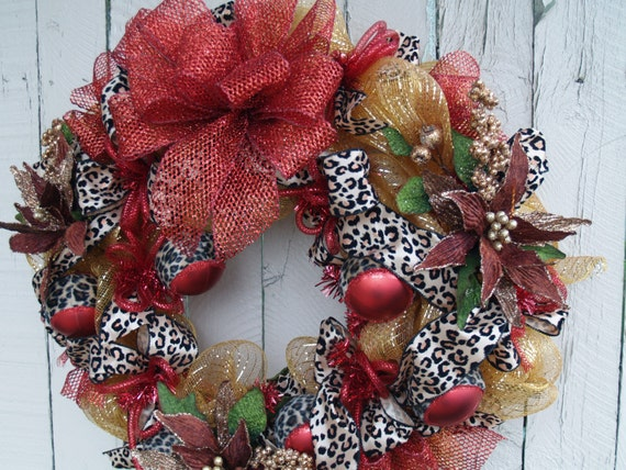 items similar to leopard print christmas deco mesh wreath on etsy. Black Bedroom Furniture Sets. Home Design Ideas