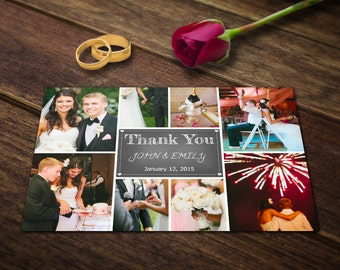 Wedding Thank You Card Template - Photoshop Templates - Photography Postcard PSD - Printable Photo Personalized & Custom WT005