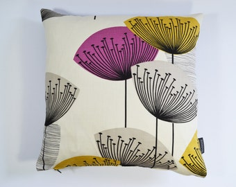 Sanderson Dandelion Clocks Retro 50s style cushion cover  - Gold/Mauve
