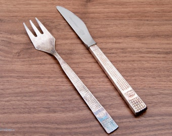 Free Shipping! Vintage British Airways Crown Atkinson Sheffield  Knife and Silver Plated Fork