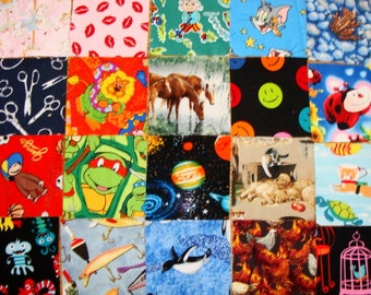 """I SPY 5"""" Novelty quilting squares, 50 fussy cut squares"""