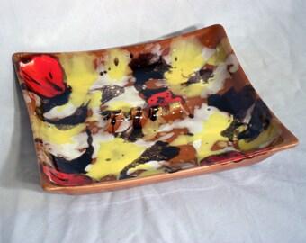 Vintage Ashtray - Brown Black Red Yellow Orange Drip Glazed Ceramic - Mod Style Amazing!!