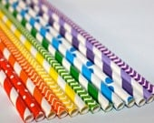 Rainbow birthday party Shower 24 Paper striped chevron polka dotted stripes paper straws