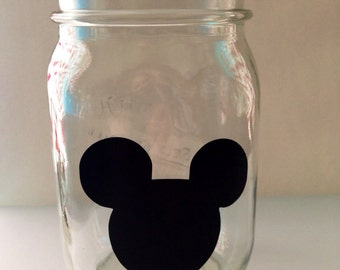 Mickey Mouse ears chalkboard black vinyl adhesive labels birthday Minnie