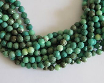 """Green Grass Agate 10mm faceted round beads 16"""" length strand"""