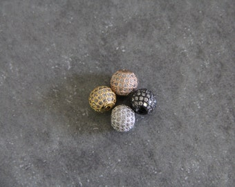 CZ Micro Pave 10mm Round beads