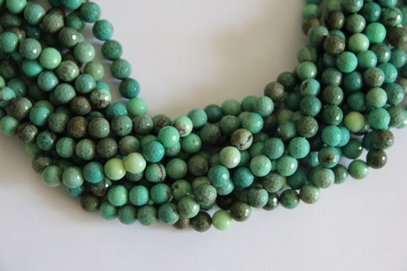 "Green Grass Agate 10mm faceted round beads 16"" length strand"