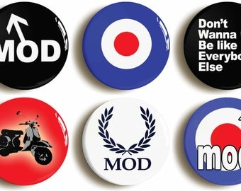 Mod badges buttons pins: Set of six 1960s retro sixties fancy dress costume (1inch/25mm diameter)