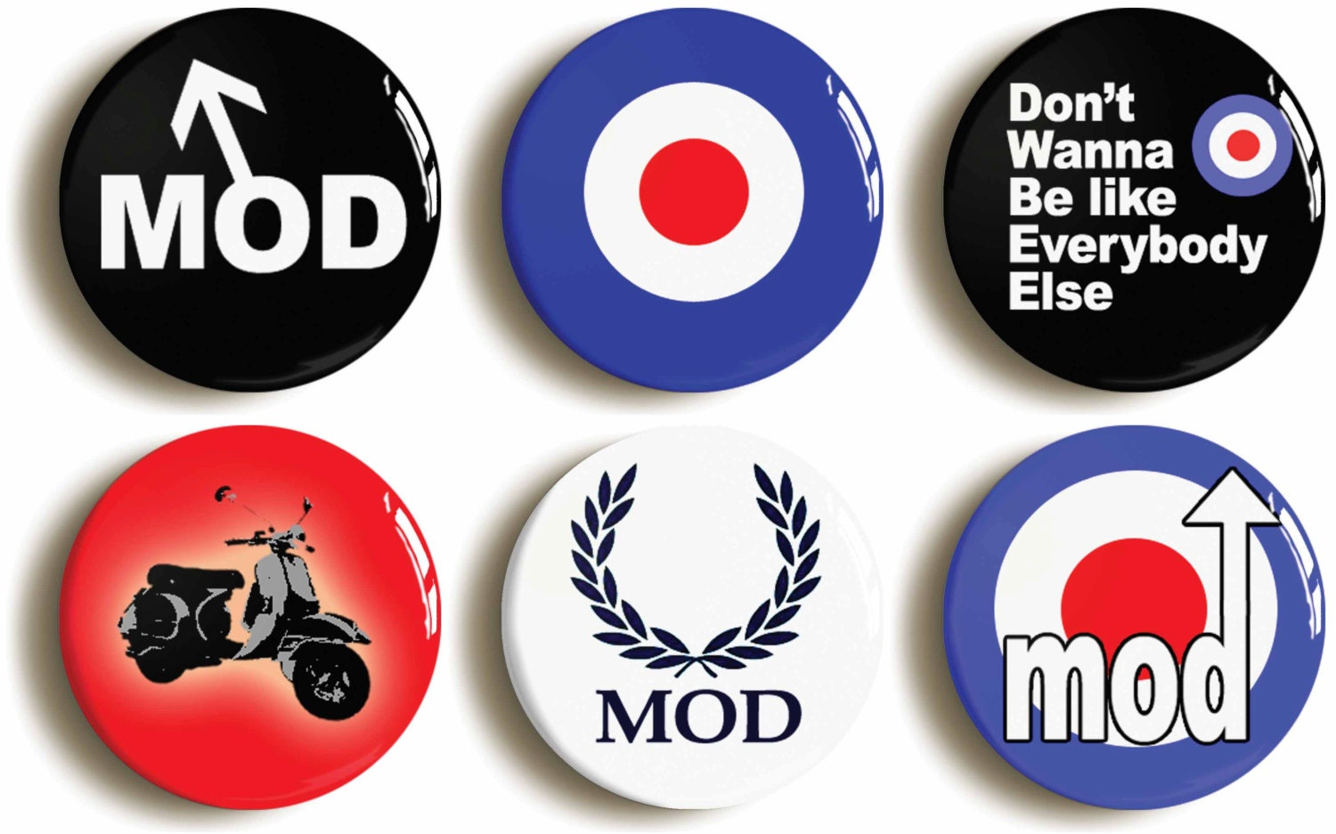 mod badges buttons pins set of six 1960s retro sixties. Black Bedroom Furniture Sets. Home Design Ideas