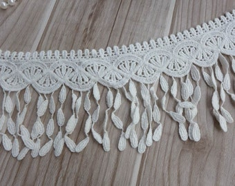Cotton lace trim in off white, teardrop fringe lace, cotton scarf lace, dress sleeve lace
