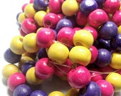 50 Strung Round Wood Beads ofg Coordinating Colors Yellow, Pink, Purple Bohemian Bead DIY Supply Jewelry Supply Craft Bead Bracelet Bead